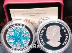 Snowflake Dendrite Ice Crystal 2017 1OZ $20 Pure Silver Proof Canada Coin