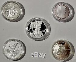 World Silver Proof Collection USA Silver Eagle-Mexico-Uruguay-Namibia-Canada